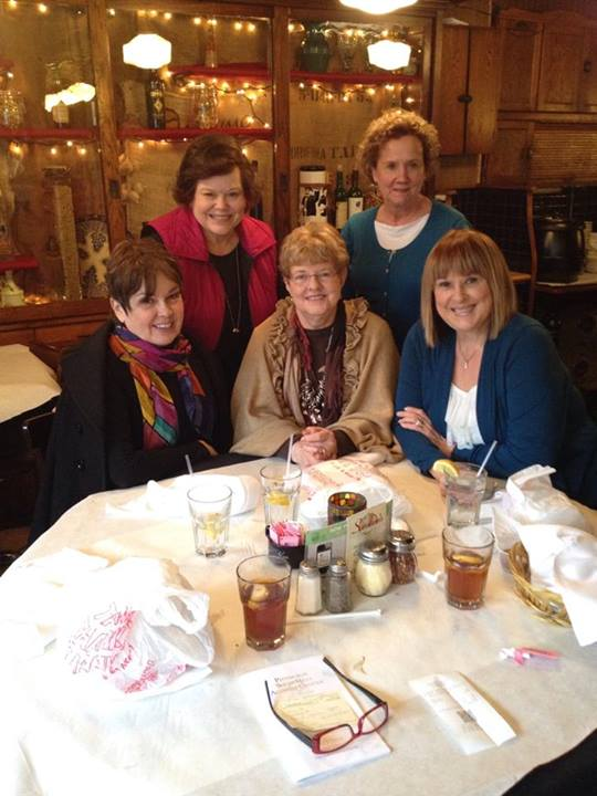 Front Row: Jane Ann Gordon Williams, Sue VanGorder Giardina, Cyntha Young Lucas Second Row: Mary Kay Dirks Mitchell and Elaine Edwards Wertheim