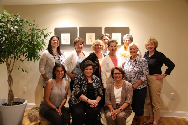 Photo of members who attended the first meeting of the year. Top Row: Joyce Golonka, Gretchen Crane, Wendy Heleen, Patty Maloney, Linda Daum, Penny Hunt, Billie Dee Weise and Betsy Teti. Bottom Row: Sarah Beitler, MaryKay Mitchell and Marge Koon.