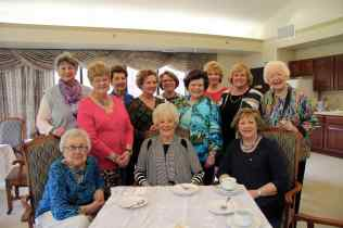 A gathering of Delta Gammas at Friendship Village for a Golden Anchor Tea to honor our 50+ year members. (missing, Billie Dee Weise who had to leave early) first row: Marty Walker, Louanne Brunenmeister, Lani Walker 2nd row: Sue Giardina, Elaine Wertheim, Mary Kay Mitchell, Wendy Heleen, Joanne Ostergaard 3rd Row: Penny Hunt, Linda Daum, Marge Koon, Betsy Teti
