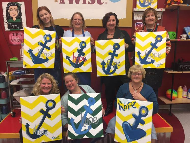 Ladies enjoying at night out together at Painting with a Twist.