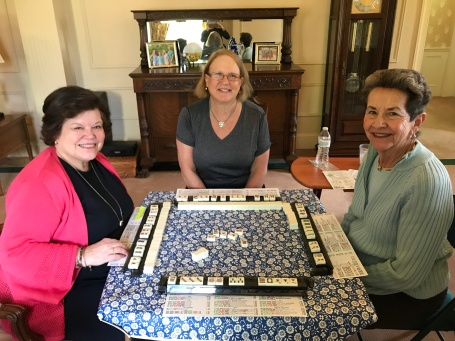 Mary Kay, Carol and Linda Learning Mah Jong. (Not Pictured: Sarah and Marge)
