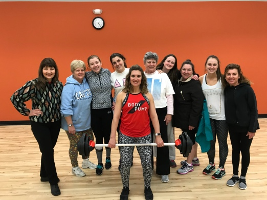 Carrie Knight (a DG Alum) lead the rest of the DG Alums in a Les Mills Body Pump and Body Flow workout at the new Spencer Family YMCA.